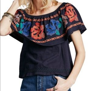 Free People To the Left Embroidered Top